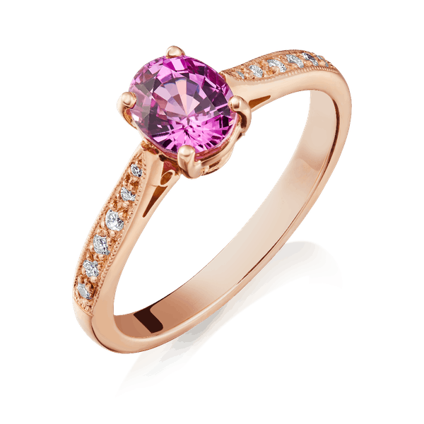 Natural Pink Colour Change Sapphire Ring