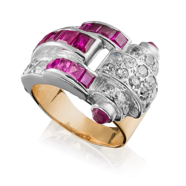 Square Cut Ruby and Diamond Ring