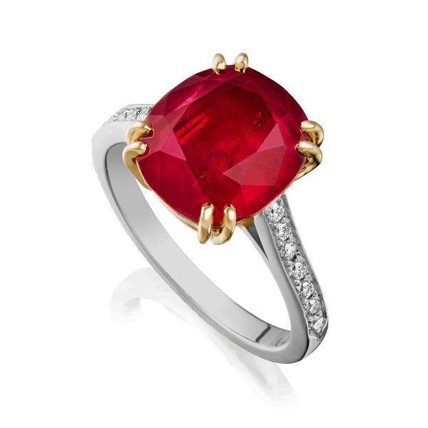 Certificated, Natural Ruby and Diamond Ring