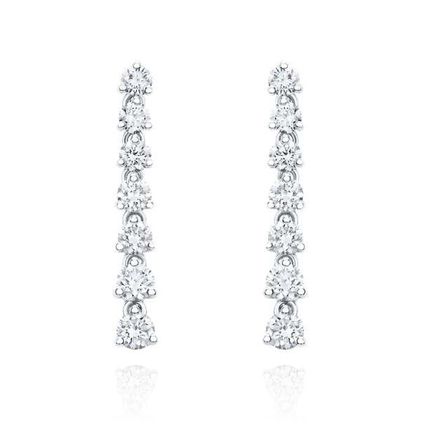 Claw Set Graduated Diamond Drop Earrings