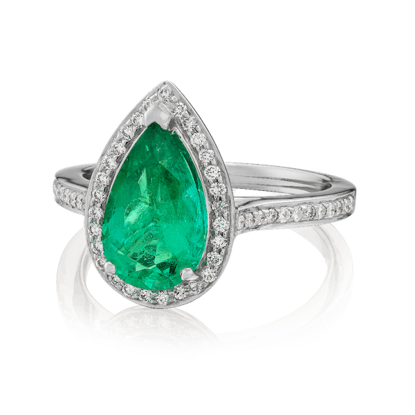 Pear Shape, Colombian Emerald Ring With Diamond Surround