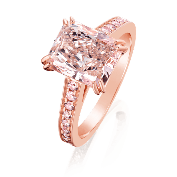 Cut-Cornered Rectangular, Natural, Fancy Pink Diamond Ring