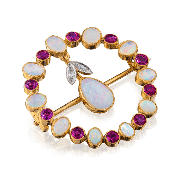 French Opal and Ruby Brooch