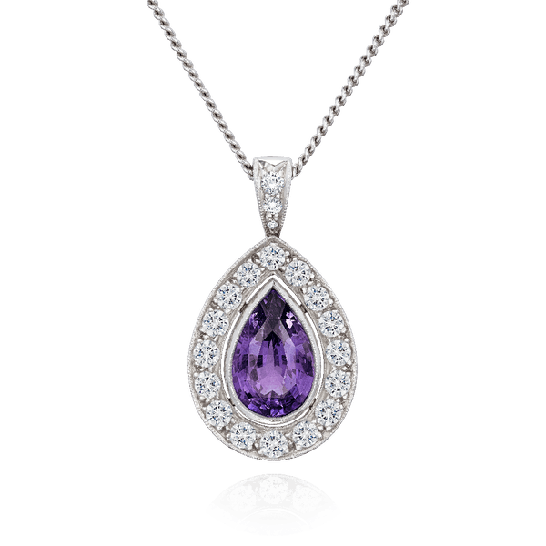 Pear Shape, Natural, Violet Sapphire and Diamond Cluster Pendant