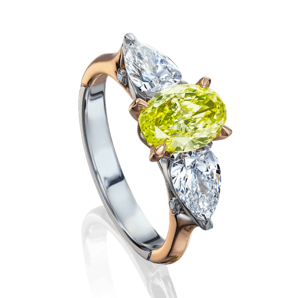 Fancy Intense Green-Yellow Oval Diamond Ring