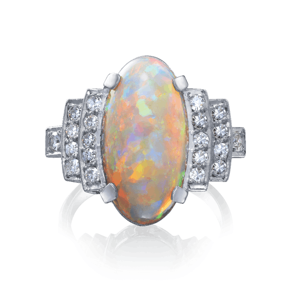 French Opal and Diamond Ring