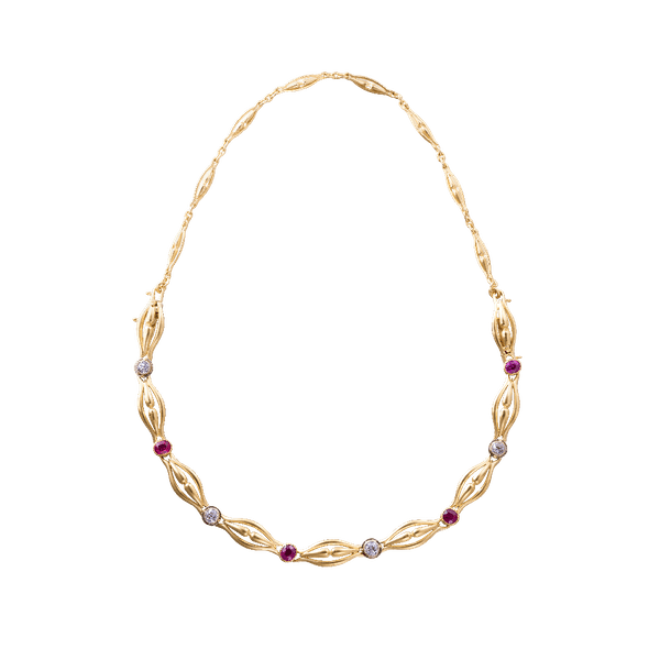 French Art Nouveau Ruby and Diamond Necklet and Bracelet