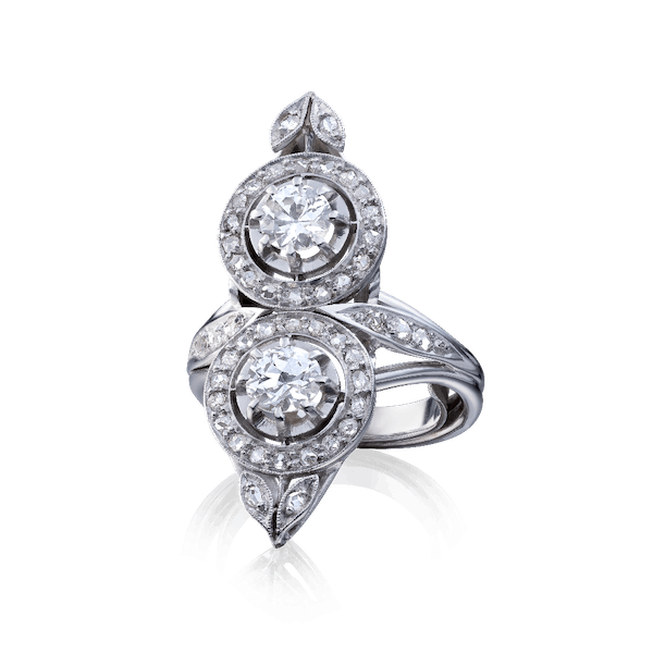 French Two Stone Diamond Cluster Ring