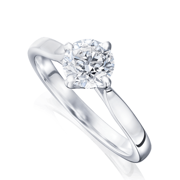 Four Claw Single Stone Diamond Engagement Ring