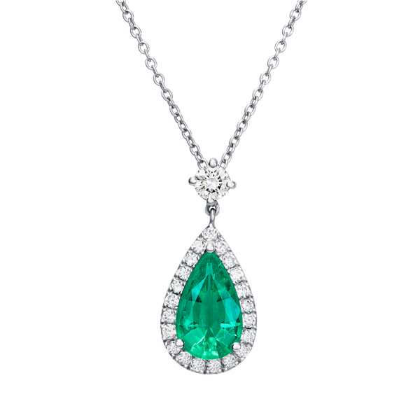 Pear Shape Colombian Emerald and Diamond Cluster Pendant