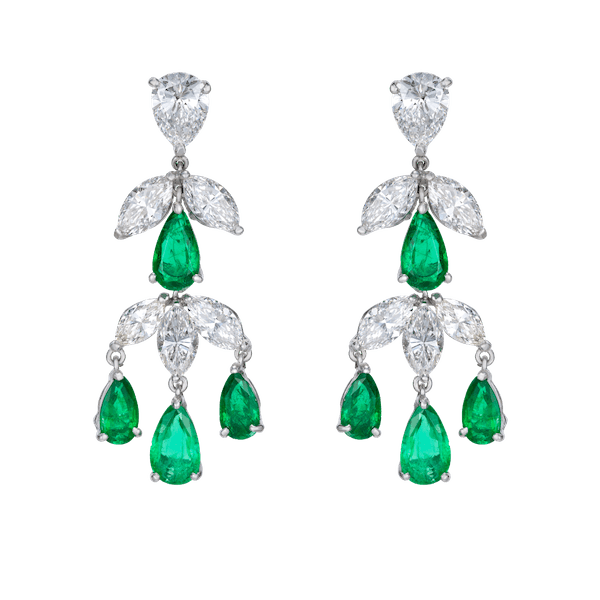 Emerald and Diamond Cascade Drop Earrings