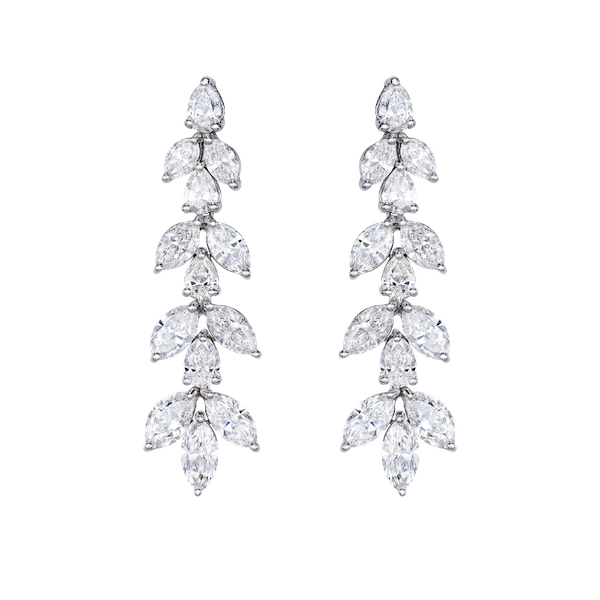 Marquise and Pear Shape Diamond Drop Earrings