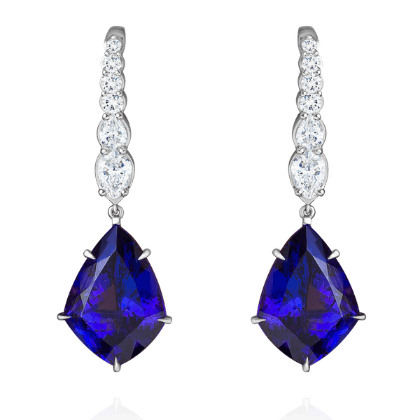 Kite Shape Tanzanite and Diamond Earrings