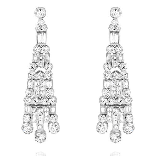 Art Deco Style Diamond Drop Earrings