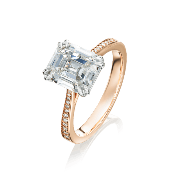 Emerald Cut Diamond Engagement Ring With Rose Gold Shoulders