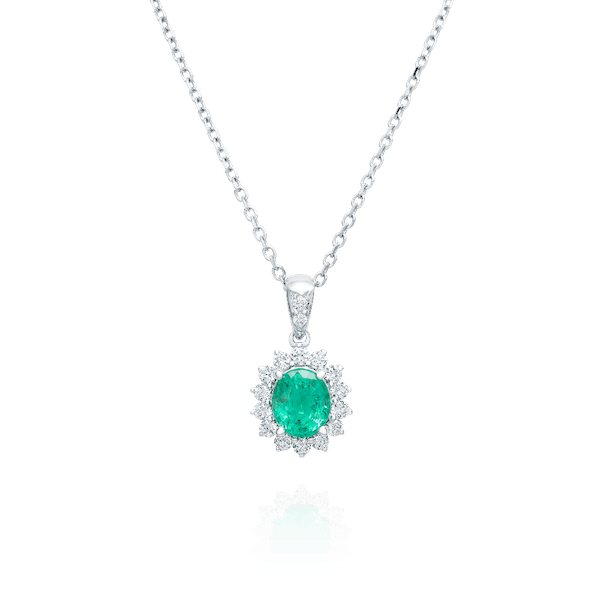 Emerald and Diamond Cluster Pendant