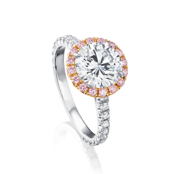 Diamond Engagement Ring With Pink Diamond Surround
