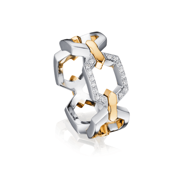 Nectar Collection Platinum Ring With Diamond Set Link