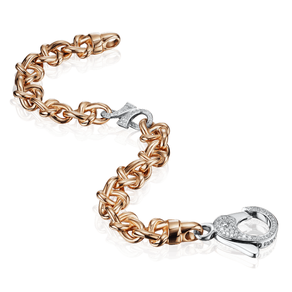 18ct Rose Gold Bracelet With Diamond Set 'GC' Link and Clasp