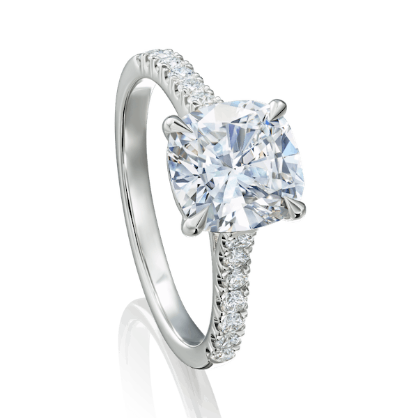 Cushion Cut Engagement Ring With Diamond Set Shoulders