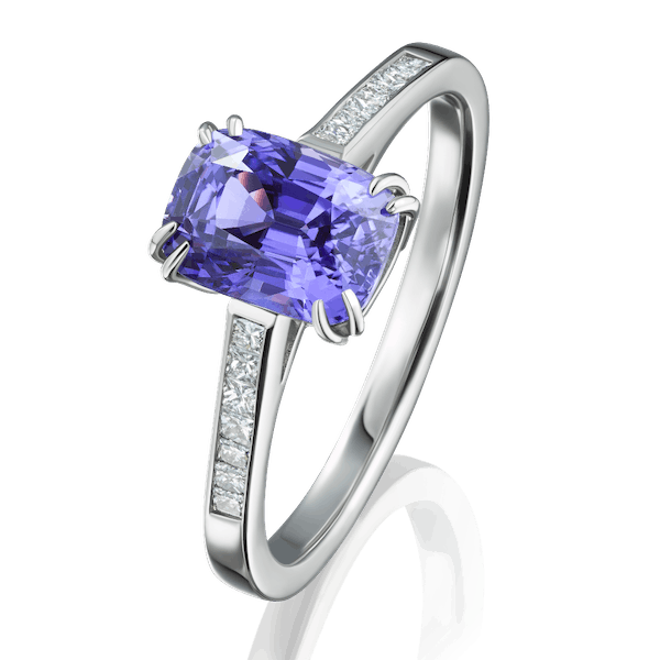 Natural Colour Change Sapphire Ring With DIamond Set Shoulders