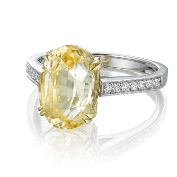 Natural oval Yellow Sapphire ring