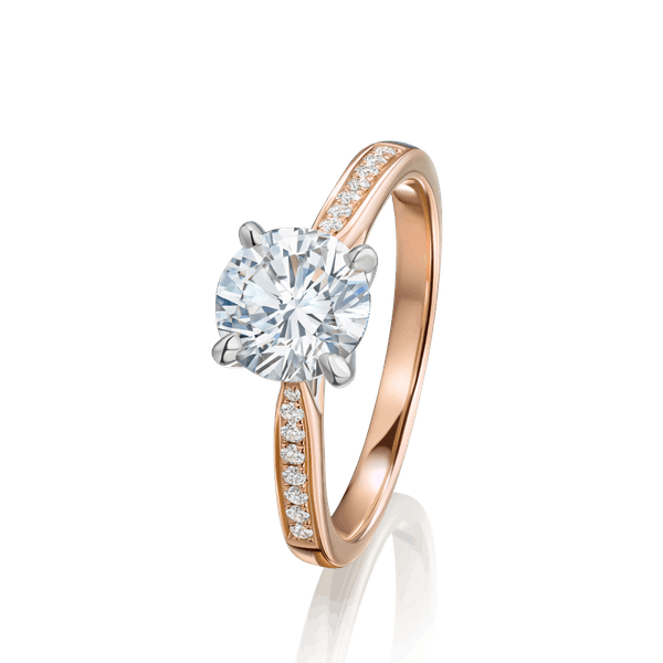 Round Brilliant Cut Diamond Engagement Ring in Rose Gold Setting