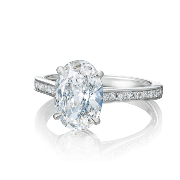 Oval Diamond Engagement Ring With Diamond Set Shoulders