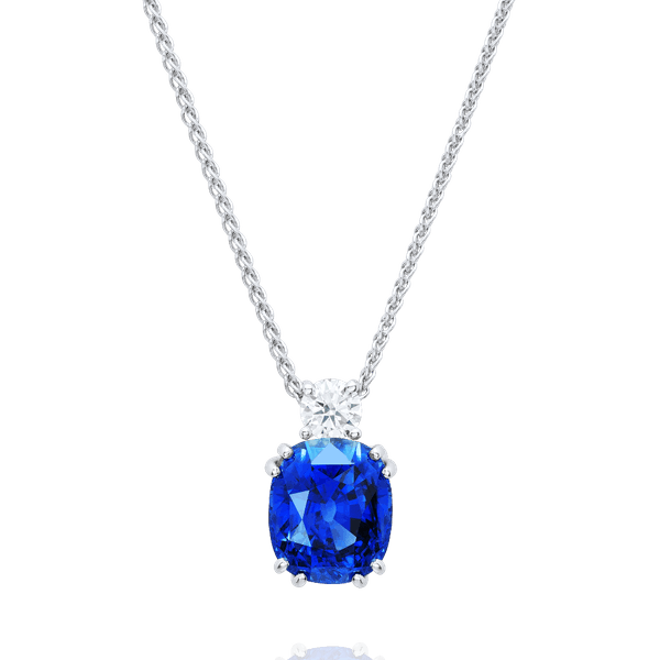 Certificated Natural Sapphire and Diamond Pendant