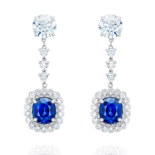 Detachable Sapphire and Diamond Drop Earrings
