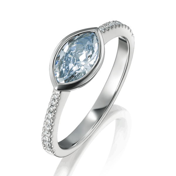 Certificated Natural Blue Oval Diamond Ring