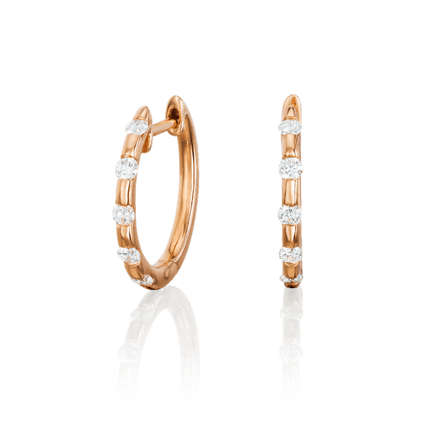 Diamond Set 18ct Rose Gold Hoop Earrings