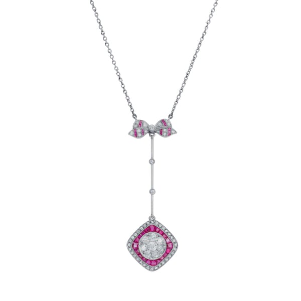 Old Cut Diamond and Ruby Drop Pendant