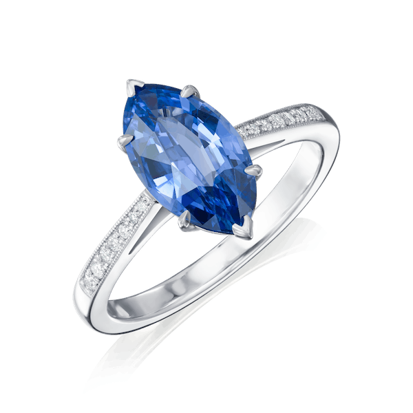 Marquise Cut Sapphire and Diamond Ring