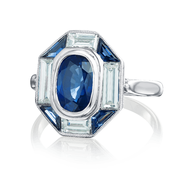 Sapphire and Diamond Tablet Ring