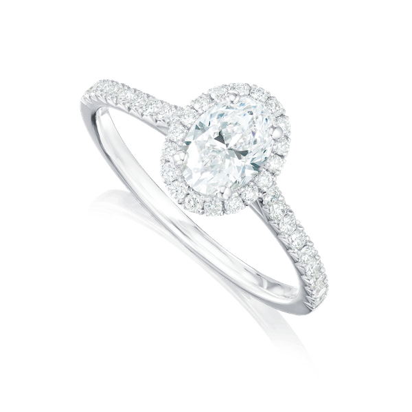 Oval Diamond Engagement Ring With Diamond Halo