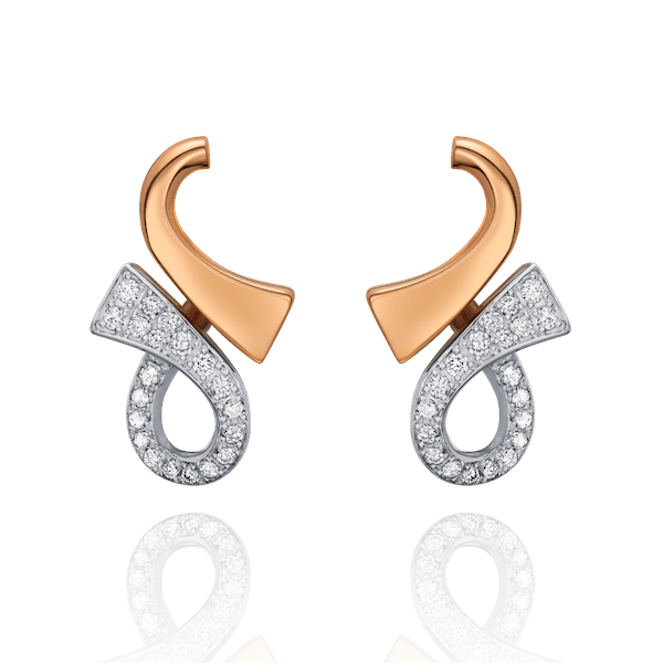 18ct Rose Gold and Diamond Set Infinity Earrings