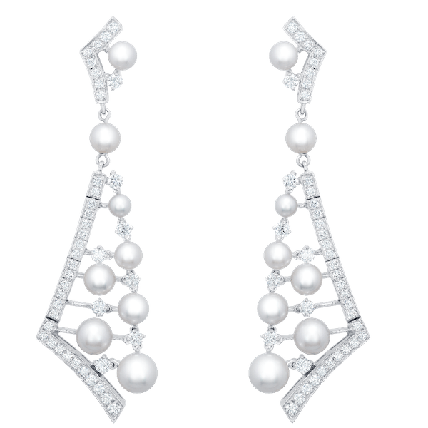 Pearl and Diamond Cascading Earrings
