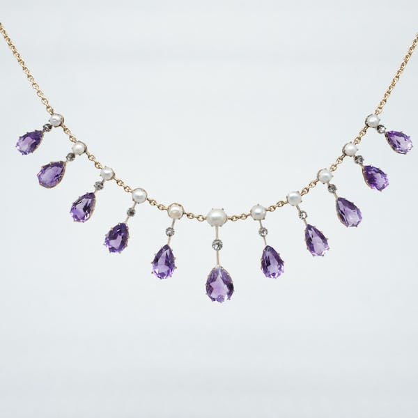 Amethyst and Seed Pearl Necklet