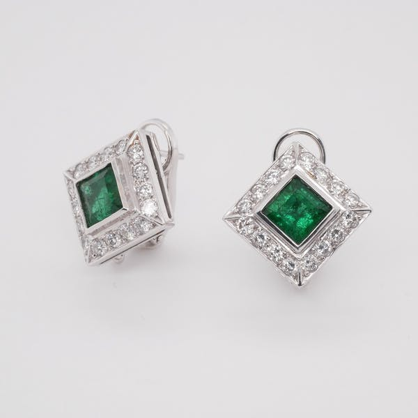 Square Cut Emerald and Diamond Cluster Earrings