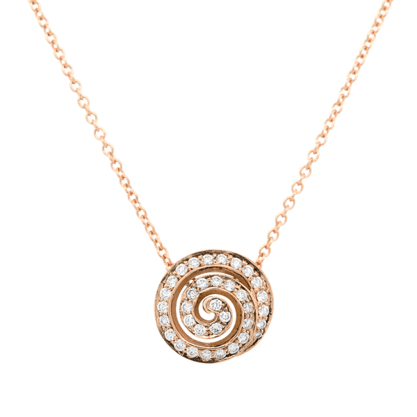 18ct Rose Gold Diamond Swirl Pendant
