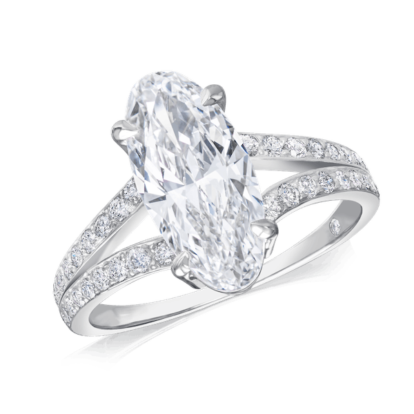 Elongated Oval Diamond Ring