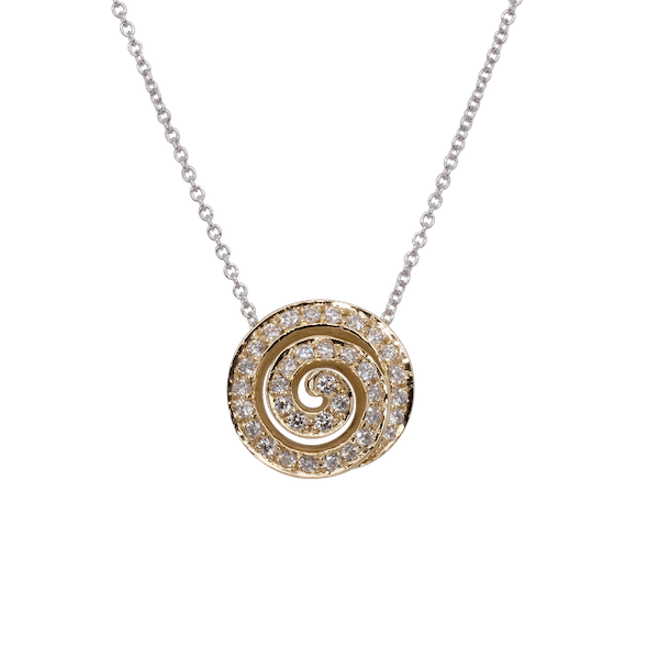 18ct Yellow Gold Diamond Swirl Pendant
