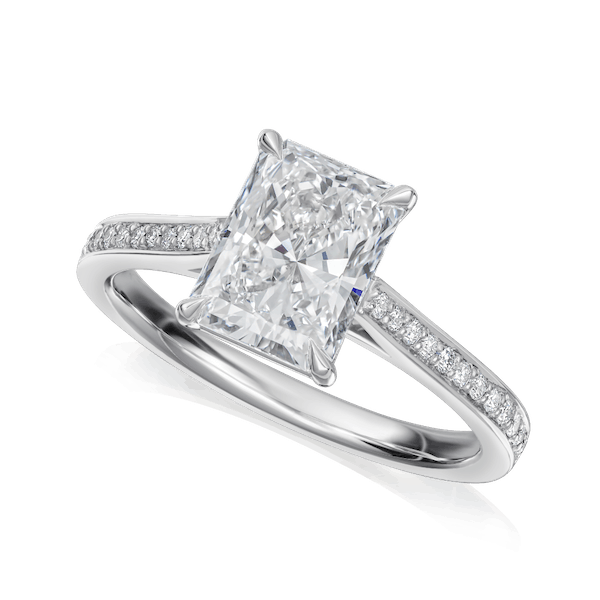 Radiant Cut Diamond Ring With Diamond Set Shoulders