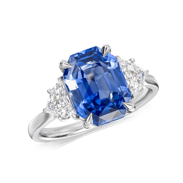 Natural Untreated Octagonal Cut Sapphire and Diamond Ring