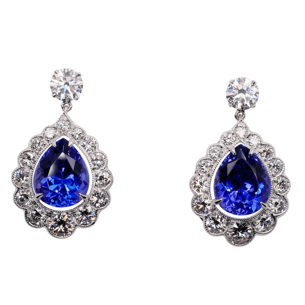 18ct White Gold Tanzanite and Diamond Cluster Drop Earrings.