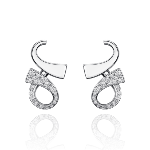 18ct White Gold and Diamond Set Infinity Earrings