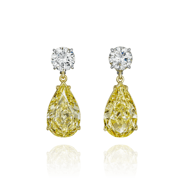 Natural Yellow Diamond Pear Shape Earrings