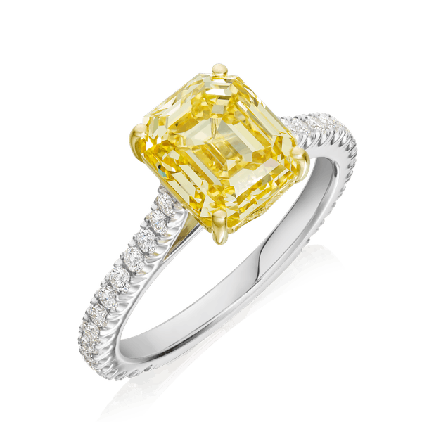 Natural, Fancy, Vivid Yellow Diamond Ring