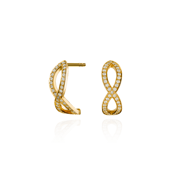 18ct Yellow Gold Skyline Crossover Earrings
